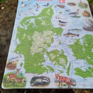 Larsen puslespil Danmarkskort 66 brikker Måler 36 x 28 cm  Fra 5 år. NYT!