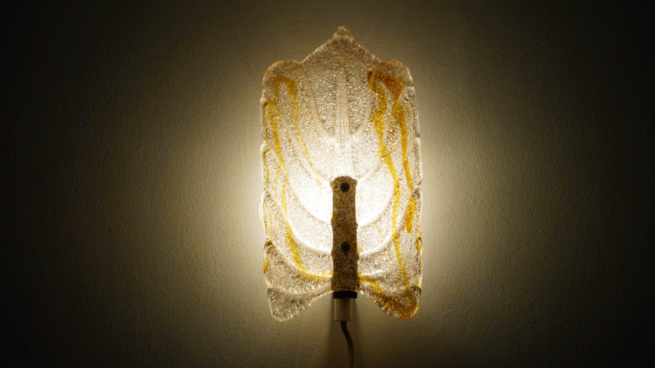 Lækker håndlavet væglampe med Murano glas
