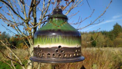 Retro lampe til spisebordet i lækker retro grøn keramik