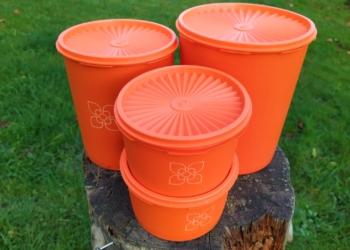 Vintage Tupperware sæt fra 70 erne i orange