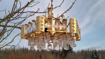 Retro lysekrone lamper i messing med prismer