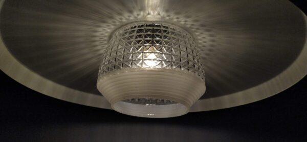 Rå retro spisebordslampe i stål. Smuk upcycled unika vintage retro lampe 42 cm