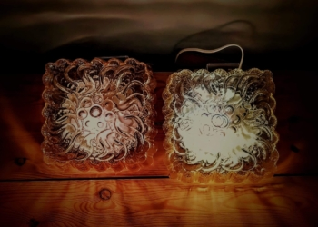 2 ens retro plafond entré lamper med blomster motiv. Knud Kristensen lights. Sætpris.
