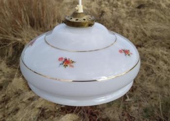 Smuk stor antik opalglas pendel med blomster i fejlfri stand.