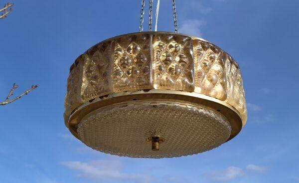 Smuk eksklusiv stor vintage lysekrone i messing