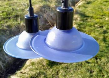 """UFO lamper dansk design model """"Inter"""". 17 cm i diameter i lyseblå. Sætpris."""