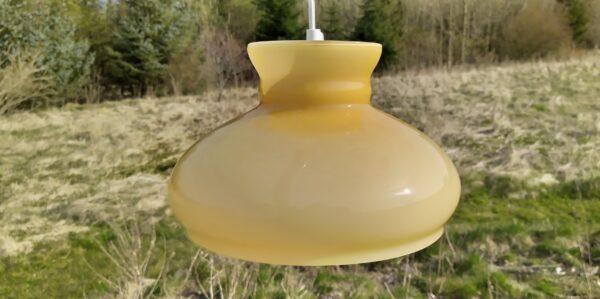 """Smuk antik Holmegaard upcycled pendel model """"Saturn"""" 27 cm."""