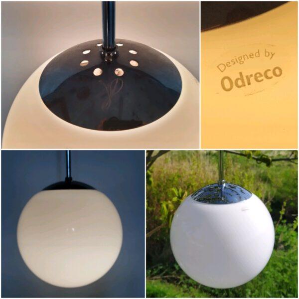 Retro opalglas kuglependel i dansk design fra Odreco. 20 cm.