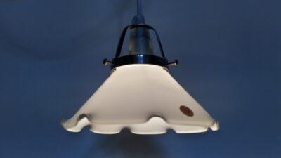Odreco opalglas pendel med messing ophæng og ny ledning m.m. 16 cm.
