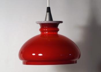 Bordeaux rød Holmegaard pendel – Upcyclet. 22 cm