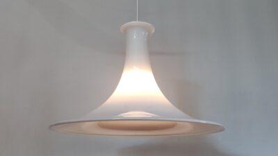 Stor Holmegaard mandarin opalglas pendel Michael Bang – 43 cm. Nyt el.