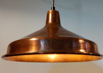 Stor smuk retro kobber pendel med helt nyt el. 34 cm