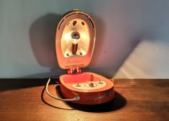 Unika comtesse lampe. Upcycled til entré bord lampe. Nyt el. Orange
