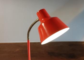 Vintage orange standerlampe med nyt el.