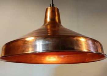 Stor smuk kobber lampe til spisebordet. 33 cm nyt el.