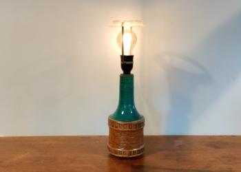 Smuk turkis retro bordlampe med nyt el. 40 cm høj med skærmholder. Uden skærm